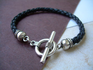 Mens Leather Bracelet  Toggle Clasp Natural Black Braid  - TSB06  Urban Survival Gear USA