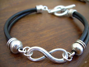 Black Leather Infinity Bracelet, Mens Jewelry, Mens Bracelet, Womens Bracelet, Womens Jewelry, Anniversary Gift, Mens Gift, Womens Gift, -