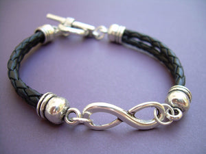 Double Strand Black Braided Leather Infinity Bracelet - Urban Survival Gear USA
