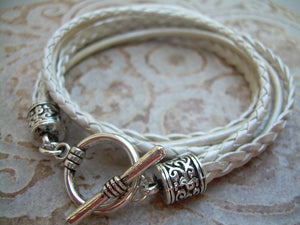 Pearl Toned Braided Leather Bracelet with Toggle Clasp - Urban Survival Gear USA