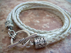 Braided Leather Bracelets for Women, Leather Bracelets for Women, Womens Bracelets, Leather Bracelets, Double Wrap Bracelet, Pearl - Urban Survival Gear USA