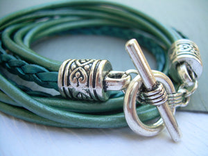 Teal Leather Double Wrap Bracelet with Toggle Clasp - Urban Survival Gear USA