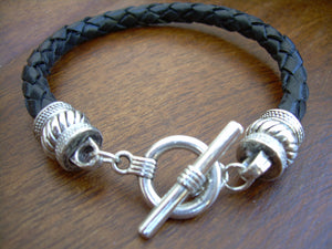 Black Braided Leather Bracelet with Toggle Clasp and Twist End Caps - Urban Survival Gear USA