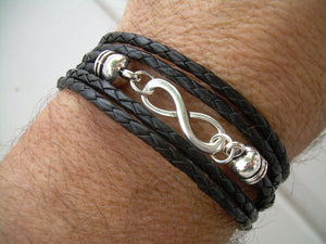 Black Braided Leather Wrap Infinity Bracelet with Nugget Lobster Clasp