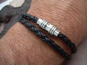 Black Braided Double Wrap Leather Bracelet with Barbell Stainless Steel Magnetic Clasp - Urban Survival Gear USA
