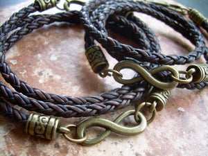 His and Hers Set of Braided Infinity Bracelets with Bronze Components - Urban Survival Gear USA