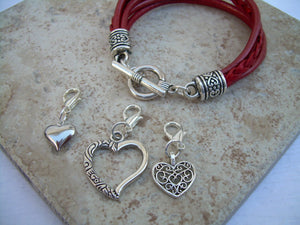 Heart Charm Bracelet, Womens Jewelry, Womens Bracelet, Womens Leather Bracelet, Three  Lobster Clasp Heart Charms in Metallic Red, - Urban Survival Gear USA