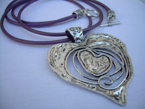 Womens Leather Heart Necklace, Heart Pendant ,Valentine's Day, Purple Necklace, Leather Necklace,Womens Jewelry,Womens Necklace,Gift for Her