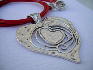 Heart Necklace, Leather Necklace, Heart Pendant,  Red, Womens Necklace, Statement Necklace - Urban Survival Gear USA