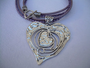 Metallic Purple Leather Necklace, Heart Pendant,  Valentine's Day, Womens Necklace, Womens Jewelry - Urban Survival Gear USA