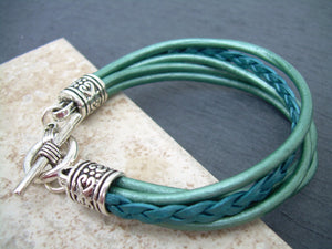 Leather  Bracelet  With  Three  Lobster Clasp Heart Charms in Metallic Teal, Womens Jewelry, Womens Gift, Womens Bracelet - Urban Survival Gear USA