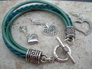 Womens Leather  Bracelet  With  Three  Lobster Clasp Heart Charms in Metallic Teal, Womens Gift, Womens Jewelry, Womens Bracelet - Urban Survival Gear USA