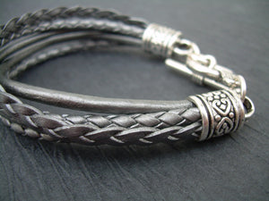 Womens Leather  Bracelet  With  Three  Lobster Clasp Heart Charms in Metallic  Silver/Gray, Mothers Day, Womeens Jewelry