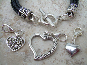 Black Leather  Bracelet  With  Three  Lobster Clasp Heart Charms, Womens Bracelet, Womens Jewelry