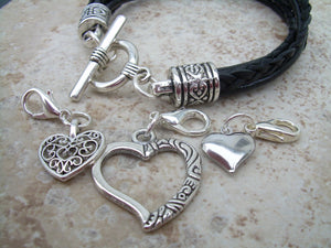 Black Leather  Heart Charm Bracelet with Three Lobster Clasp Heart Charms - Urban Survival Gear USA