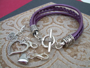 Heart Charm Bracelet, Womens Leather  Bracelet, Heart Charms,  Leather Bracelet, Womens Jewelry, Womens Bracelet, Purple, - Urban Survival Gear USA