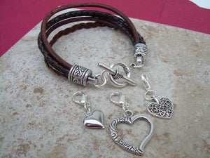 Heart Charm Bracelet, Three  Lobster Clasp Heart Charms, Antique Brown, Womens Bracelet, Womens Jewelry, Leather Jewelry,  Bracelet - Urban Survival Gear USA
