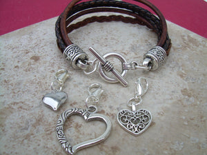 Womens Leather Bracelet with three lobster clasp heart charms, Womens Bracelet, Womens Jewelry, Charms, Womens Gift, Teacher Gift, Bracelet - Urban Survival Gear USA