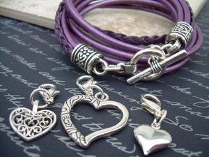 Womens Leather Wrap Bracelet with Three Heart Charms, Womens Bracelet, Womens Jewelry, Womens Gift, Hearts, Purple, Leather Bracelet,