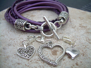 Purple Wrap Bracelet, Womens Leather Bracelet,Charm, Double Wrap, Metallic Berry / Purple with Three heart Charms, Womens Jewelry - Urban Survival Gear USA