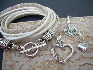 White Leather Heart Charm Bracelet, Womens Bracelet, Leather Bracelet, Wrap Bracelet, Womens Jewelry , Leather Jewelry