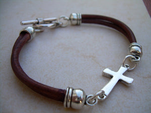 Double Strand Leather Cross Bracelet with Toggle Clasp - Urban Survival Gear USA
