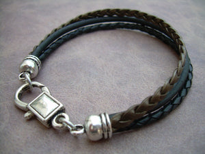 Black and Metallic Bronze Flat Braided Leather Bracelet - Urban Survival Gear USA