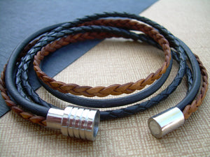 Double Wrap Leather Bracelet with Stainless Steel Magnetic Clasp - Urban Survival Gear USA