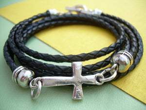 Black Braided Triple Wrap Leather Cross Bracelet with Toggle Clasp