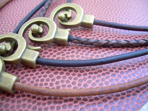 Leather Necklace with Antique Bronze Tribal Spiral Pendant Closure - Urban Survival Gear USA