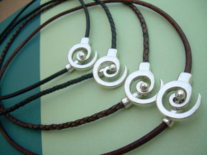 Leather Necklace Men's Women's Unisex - Antique Silver  -Tribal Inspired Spiral Pendant Closure, Mens Jewelry, Womens Jewelry - Urban Survival