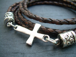 Antique Brown Braid Leather Wrap Cross Bracelet with Toggle Clasp - Urban Survival Gear USA