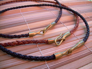 Braided  Leather Necklace with Bronze Hook Clasp - Urban Survival Gear USA