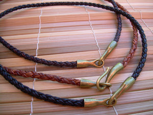 Braided Leather Necklace with Anique Bronze Hook Clasp - Urban Survival Gear USA