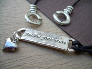 Follow your heart Leather Necklace, Womens Necklace, Womens Jewelry - Urban Survival Gear USA