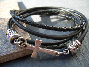 Triple Wrap Black Leather Cross Bracelet