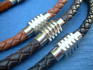 Leather Necklace with Stainless Steel Sprocket Style Magnetic Clasp - Urban Survival Gear USA