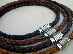 Thick Braided Leather Necklace with Sprocket Style Stainless Steel Magnetic Clasp - Urban Survival Gear USA