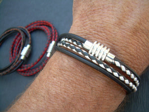 Two Toned Braided Leather Bracelet with Sprocket Style Stainless Steel Magnetic Clasp