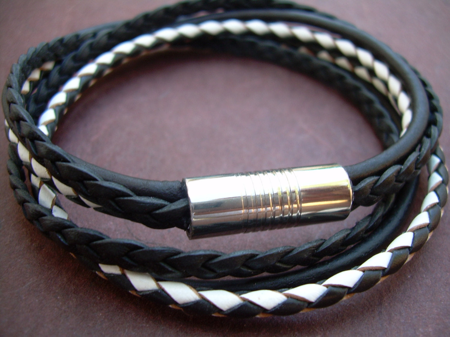 Three Star Two Wrap Leather Bracelet With Magnetic Clasp up to 7.5 /'