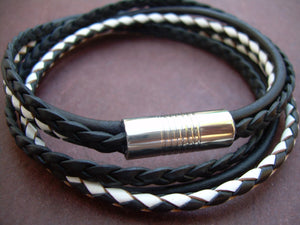 Two Tone Double Wrap Braided Leather Bracelet with Stainless Steel Magnetic Clasp - Urban Survival Gear USA