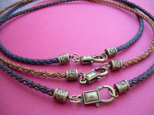 Braided Leather Necklace with Antique Bronze Hardware - Urban Survival Gear USA