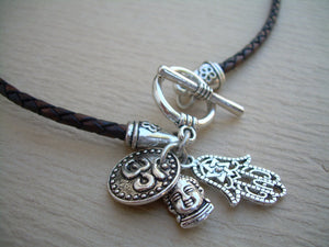Leather Yoga Necklace with charm cluster , Yoga Jewelry, Om, Hamsa, Buddha, Namaste, Leather Necklace, Womens Necklace, Womens Jewelry - Urban Survival Gear USA