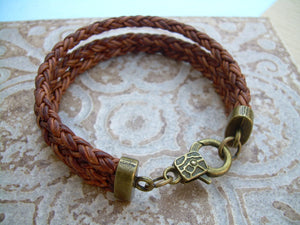 Triple Strand Braided Leather Bracelet with Antique Bronze Hardware,  Mens Bracelet, Womens Bracelet, Mens Jewelry, Womens Jewelry, For Her - Urban Survival Gear USA