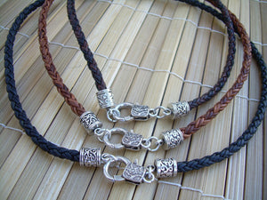 Leather Necklace, Mens Necklace, Womens Necklace, Mens Jewelry, Womens Jewelry, Antique Silver, Braided - Urban Survival Gear USA