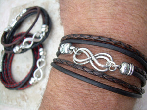 Double Infinity Triple Wrap Braided Leather Bracelet - Urban Survival Gear USA