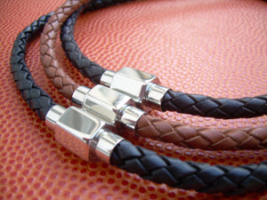 Braided Leather Necklace with Hexagon Stainless Steel Magnetic Clasp - Urban Survival Gear USA
