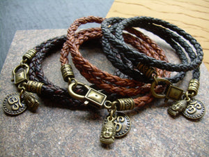 Braided Leather Bracelet with Om and Buddha Charms - Urban Survival Gear USA