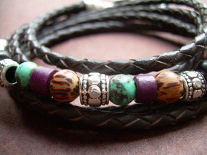 Triple Wrap Braided Leather and Gemstone Bracelet - Urban Survival Gear USA
