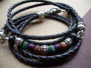 Triple Wrap Braided Leather and Gemstone Bracelet